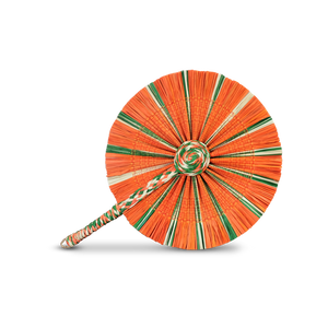 Raffia Round Fan - Orange Green White