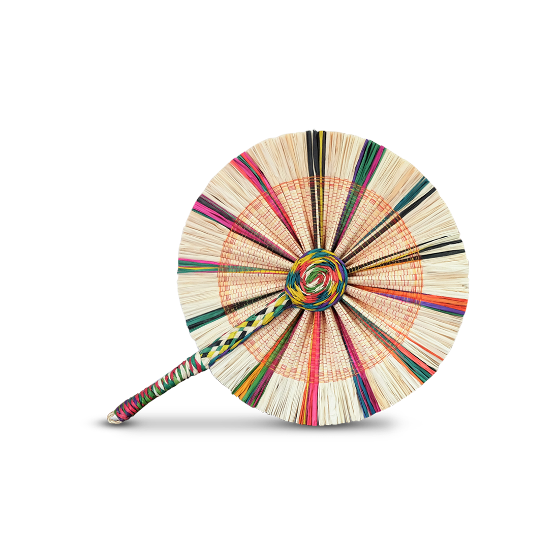 Raffia Round Fan - White Multi