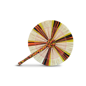Raffia Round Fan - White Yellow Orange Black
