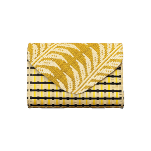 Victoria Envelope Clutch - Yellow White Leaf