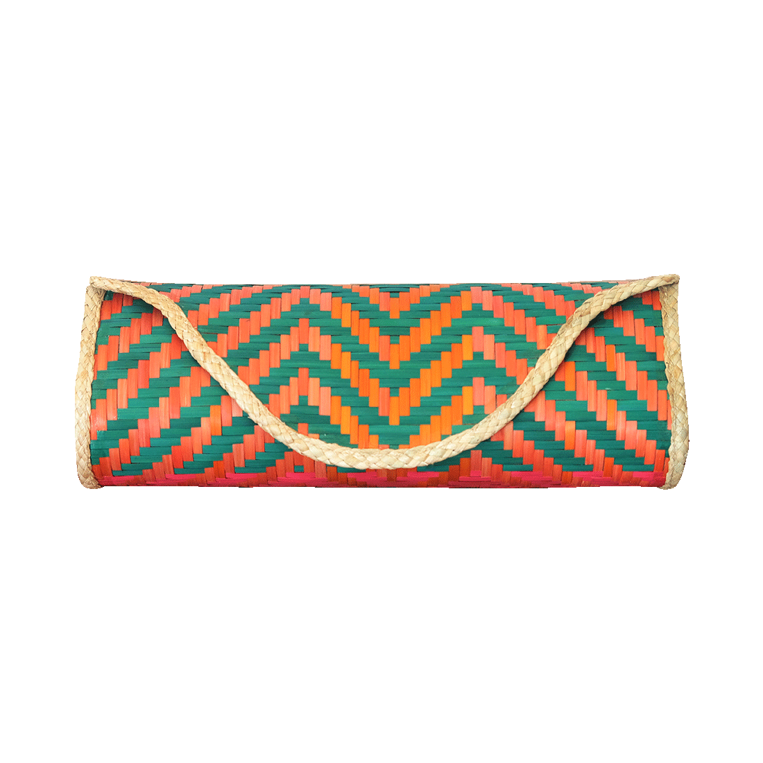 Bamboo Skin Maya Clutch - Green Orange Fuchsia