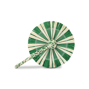 Raffia Round Fan - White Green