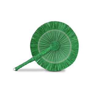 Raffia Round Fan - Solid Green