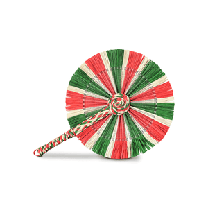 Raffia Round Fan - White Red Green