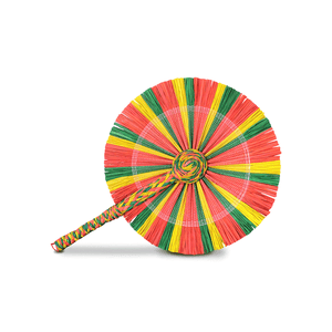 Raffia Round Fan - Red Green Yellow
