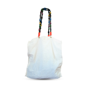Wood Bead Shoulder Strap Canvas Tote Bag