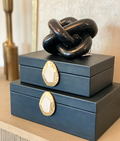 Navy leather decorative boxes