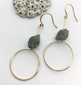 Raw Labradorite Earrings