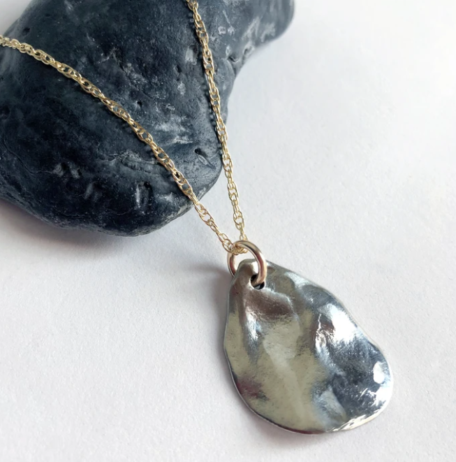Mixed Metal Teardrop Shell Cast Necklace