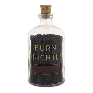 Burn Brightly Glass Match Bottle