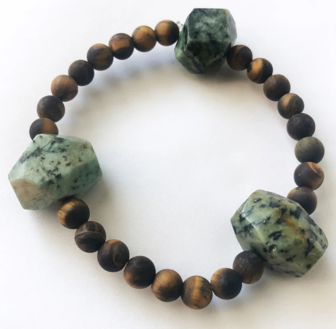 Tiger's Eye + African Turquoise Bracelet