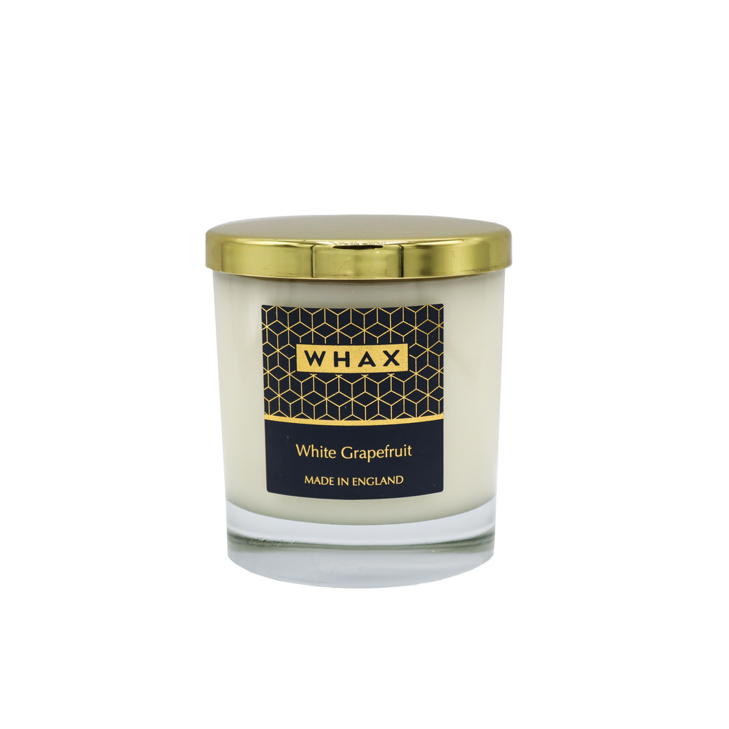 white grapefruit scented home candle retail pack | Wholesale Candles | whax.co.uk | made Hereford | Herefordshire | made in England