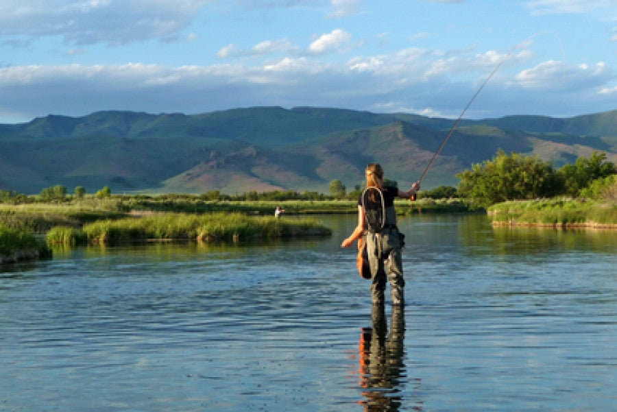 Brush On Block image of woman fly fishing