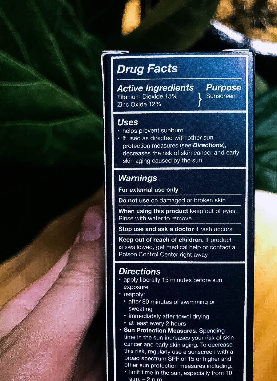 Drug Facts on back of Brush On Block box