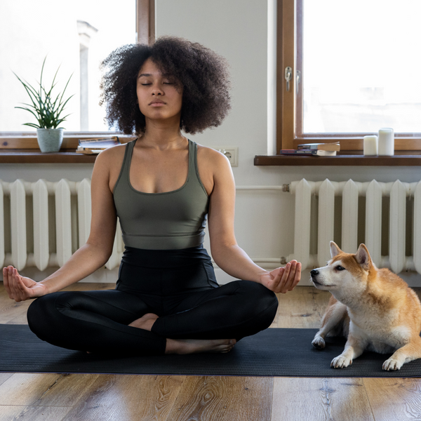 Woman doing yoga with dog next to her