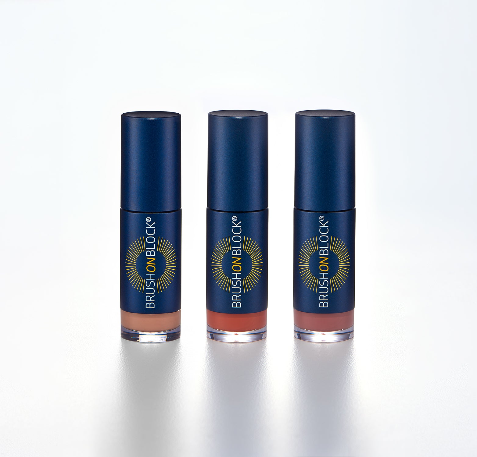 BRUSH ON BLOCK® Protective Lip OIls in Nude Tint, Coral and Fig