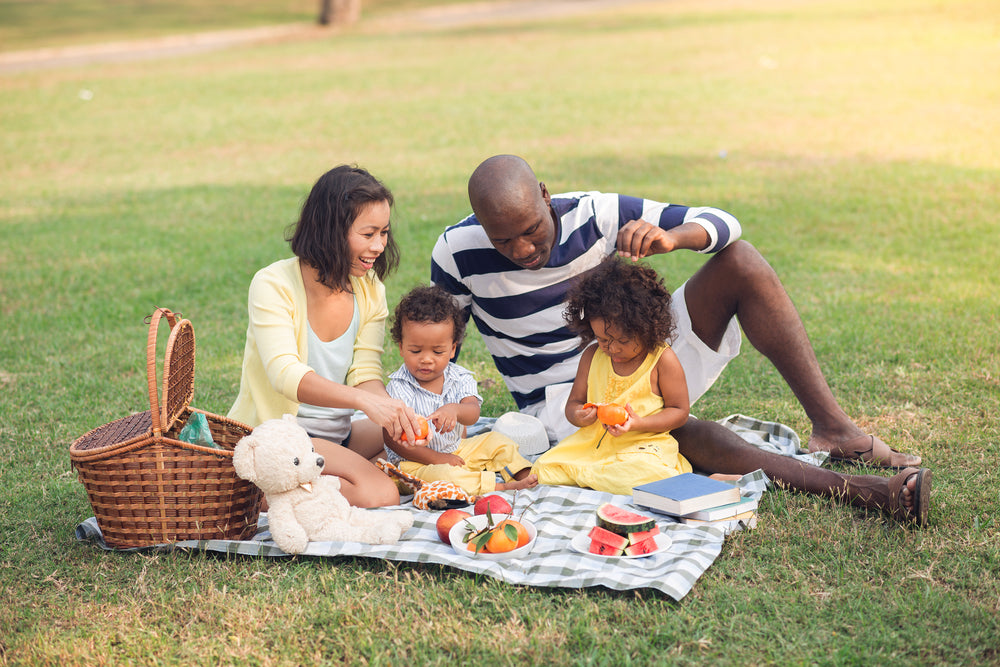 Brush On Block® image of family enjoying picnic