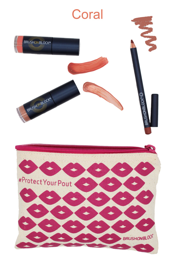 BRUSH ON BLOCK® Protected Pout Kit in Coral with swatches.