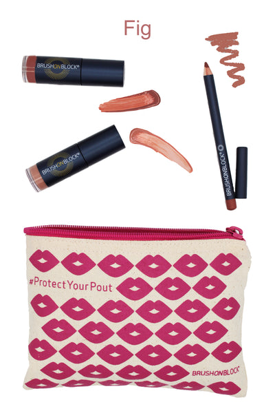 BRUSH ON BLOCK® Protected Pout Kit in Fig with swatches.