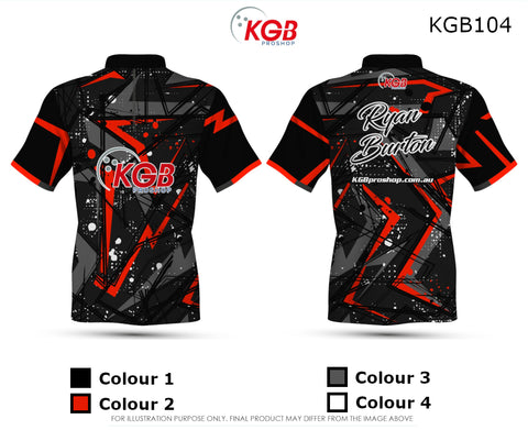 Personalised Bowling Shirt - KGB104 Red Abstract