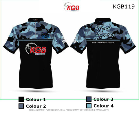 Personalised Bowling Shirt - KGB119 Blue Camo