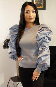 Rudy Grey Statement Sleeve Top