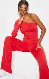 Lilliana One Shoulder Design Red Jumpsuit