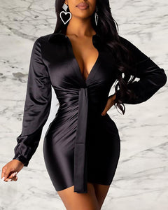 Yara Black Satin Tie Front Dress