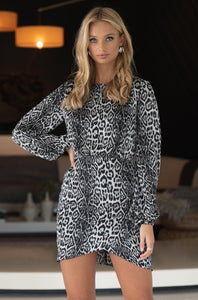 Quinn Animal Print LS Dress