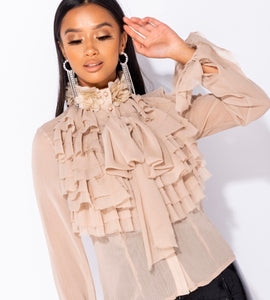 Thea Beige Pussy Bow Blouse