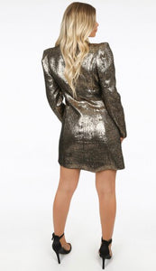 Lillian Metallic Gold Asymmetric Blazer Dress