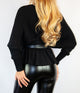 Ella Black V -Neck Peplum Knit