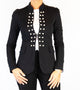 Callie Black Jersey Pearl Button Blazer