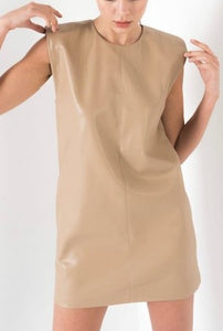Antara Faux Beige Dress with Shoulder Pads
