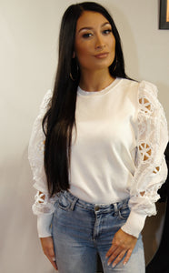 Reagan White Statement Sleeve Top