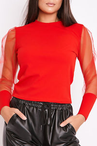 Robyn Mesh Puff Sleeve Top