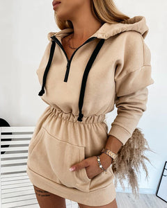 Clara Beige Hooded Loungewear Dress