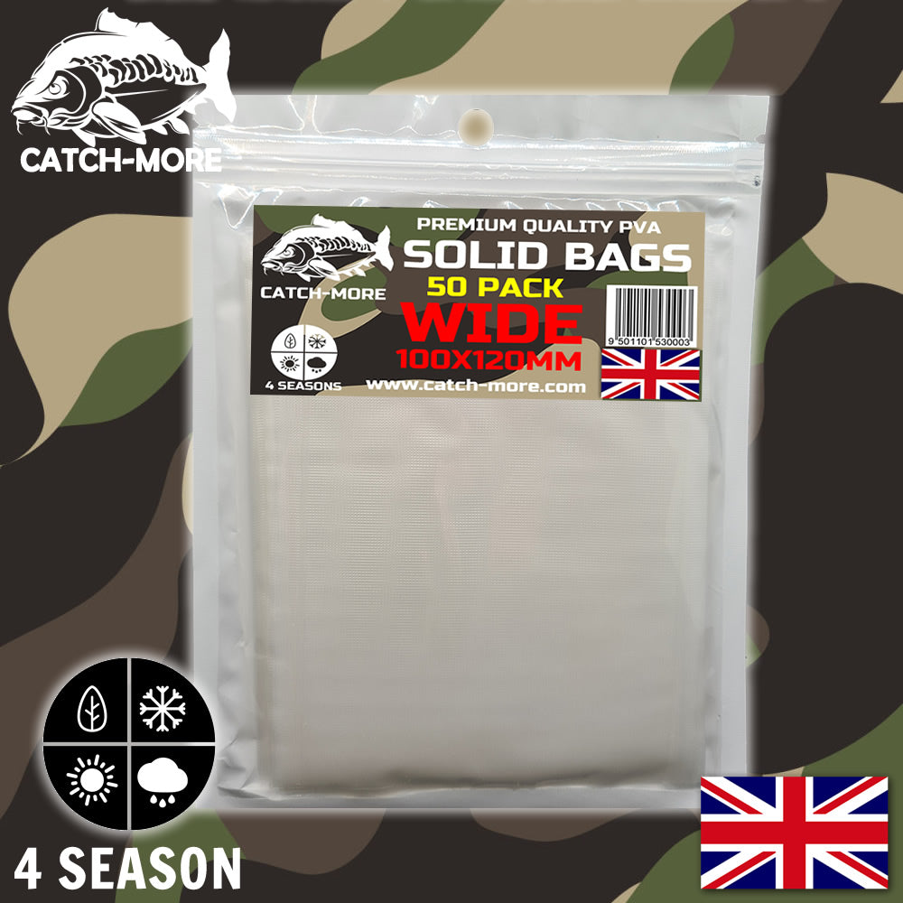 Catch-More Solid PVA Bags Wide 100x120mm - 50 Pack