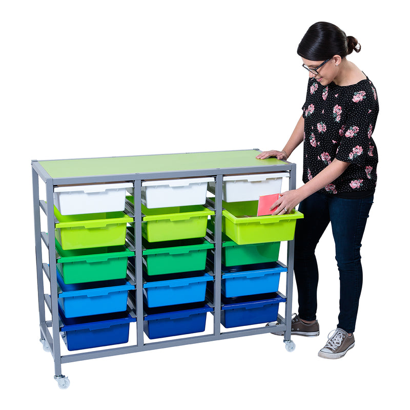 Tote Tray Trolley with Reversible Coloured Top
