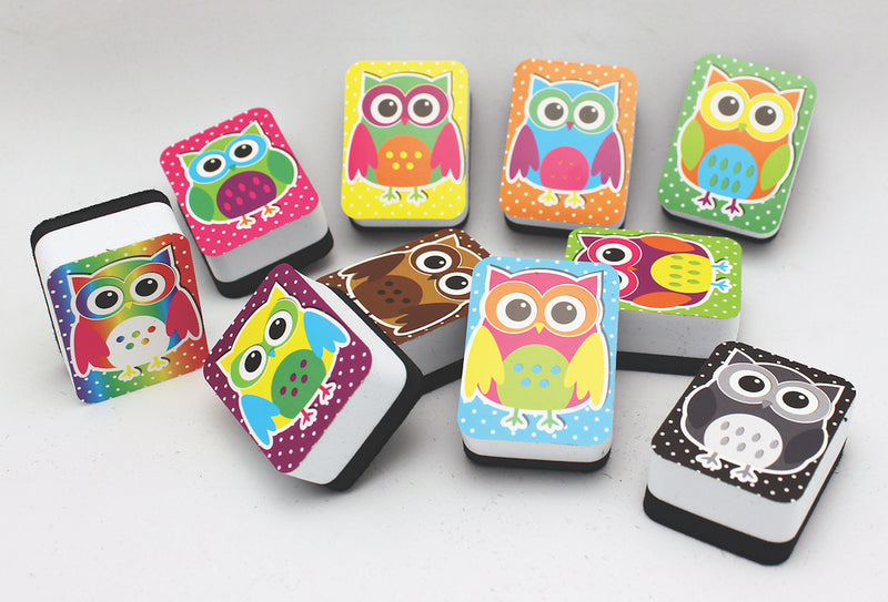 Mini Whiteboard Erasers 10 pack - Owls