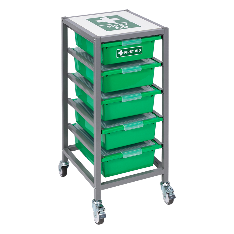 First Aid Tote Tray Trolley