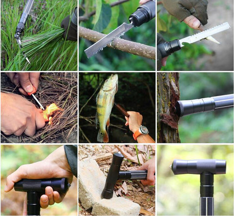 Tac Staff Aluminum Trekking Pole, With 6 Built In Survival Tools