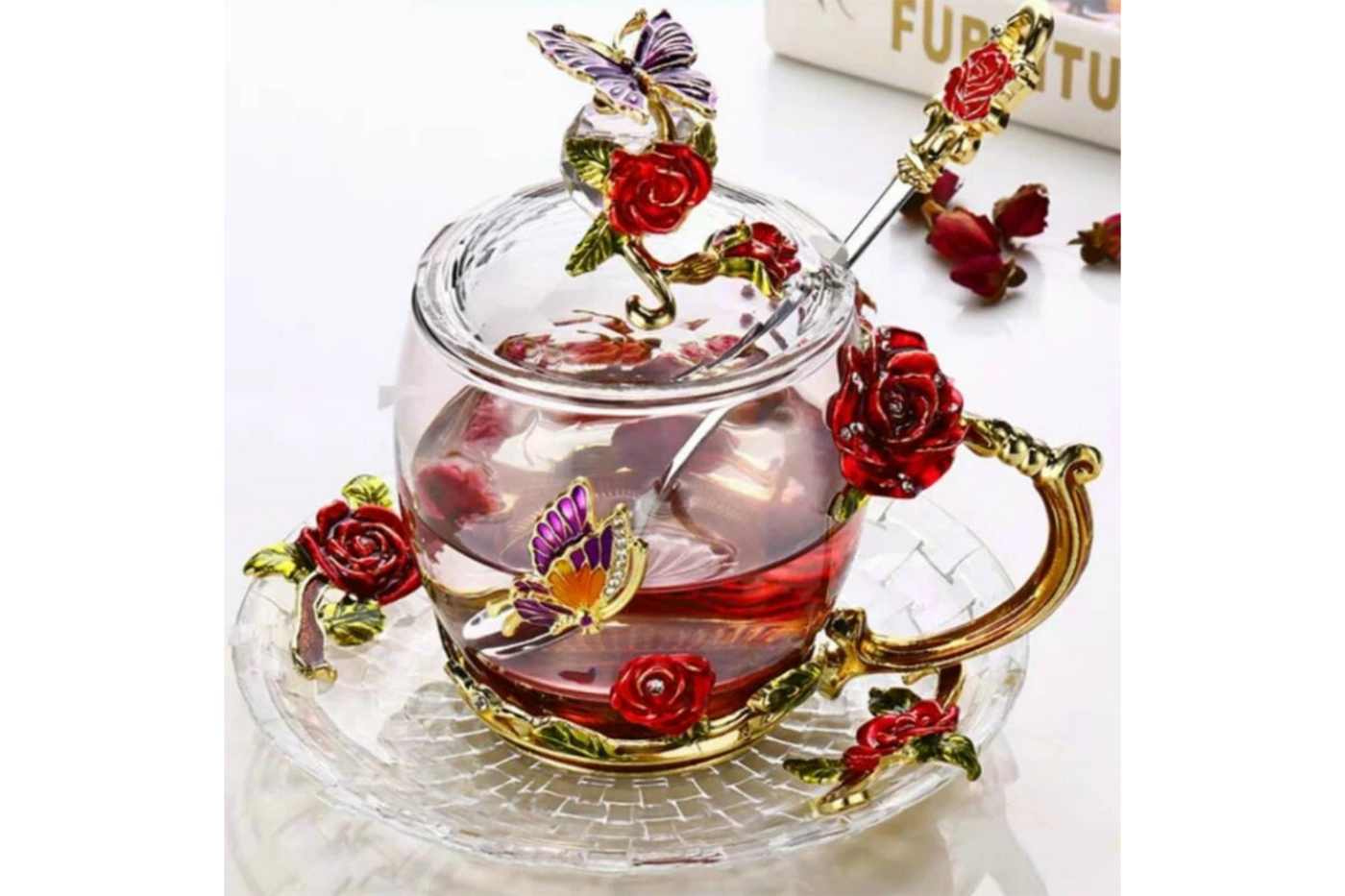 Transparent Glass Coffee Mugs with Hand-Made Luxurious Flower Designs