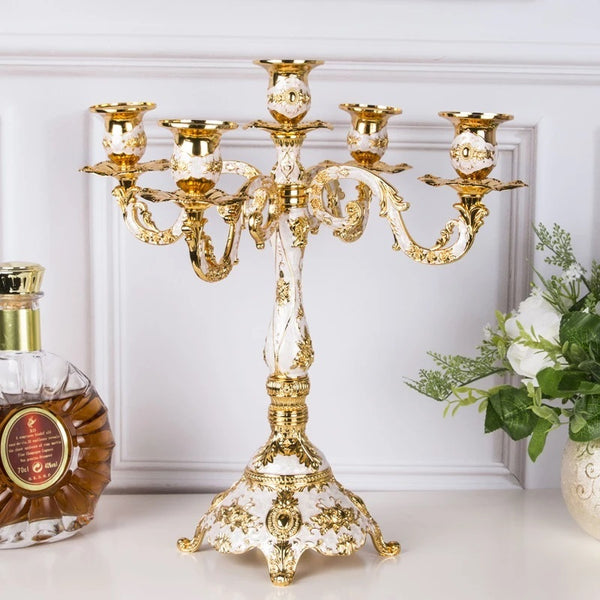 5-arms Gold Plated Candle Holder