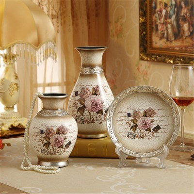 3Pcs/Set Ceramic vase 3D Stereoscopic dried flowers arrangement wobble plate living room entrance ornaments home decorations