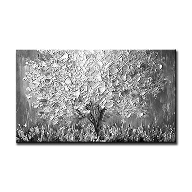 New Handmade Large Modern Canvas Art Oil Painting Knife Golden Tree Paintings For Home Living Room Hotel Decor Wall Art Picture