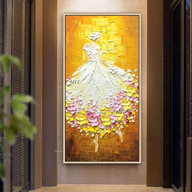 Wedding Gift Home Decoration Hand Painted Dance Girl Knife Oil Painting On Canvas Modern Large Size Abstract Art Home Decor