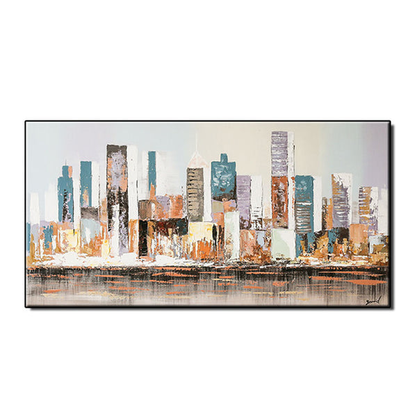 City Building Hand Painted Oil Painting