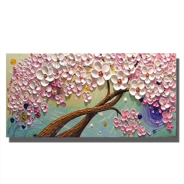 Hand Painted Knife Flower Oil Painting on Canvas Wall Art for Living Room & Home Decoration
