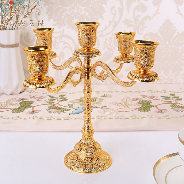 Hollow Design 5 Arms Metal Candle Holders
